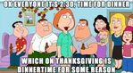 Everyone it's 2:30 time to eat which on Thanksgiving is dinnertime for some reason