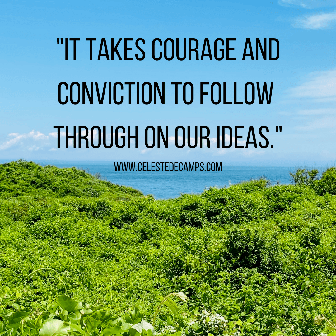 """""""It takes courage and conviction to follow through on our ideas."""""""
